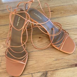 & Other Stories orange lace up leather stilettos